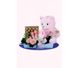 Wine Chocolate Bear With Flower Arrangement