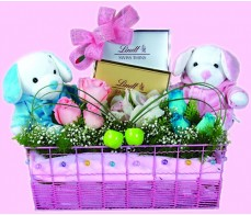 Bear Chocolate With Flower Arrangement